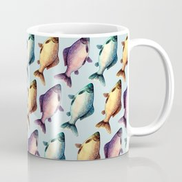 Colorful fishes pattern with bluish background Coffee Mug
