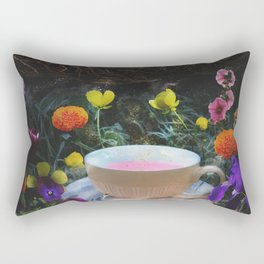 Flowers and Tea in Wonderland Rectangular Pillow