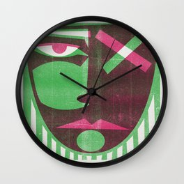 Two tone mask Wall Clock