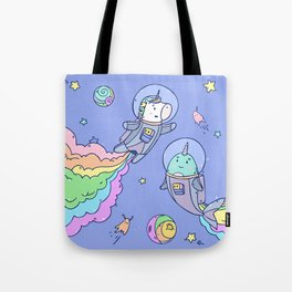 Space Unicorn and Narwhal Tote Bag