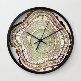 Tree Rings – Watercolor Ombre Wall Clock