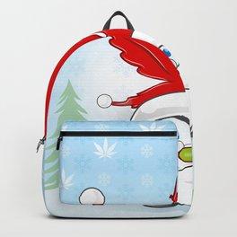 santa cluas whit marijuana hat over snoflacks background Backpack