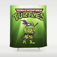 ninja turtle Shower Curtains featuring Ninja Turtle by flydesign