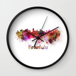 Honolulu skyline in watercolor Wall Clock