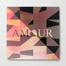 Amour Love Heart Cubic Design Metal Print