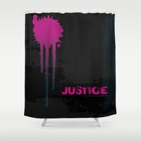 justice league Shower Curtains featuring JUSTICE by TheCore