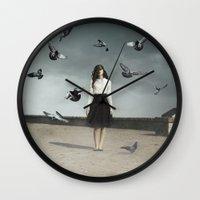 fear Wall Clocks featuring Fear by Jovana Rikalo