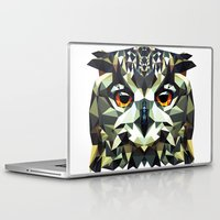 polygon Laptop & iPad Skins featuring Polygon Owl by Andrew Mason