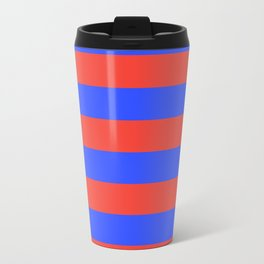 Even Horizontal Stripes, Blue and Red, L Travel Mug