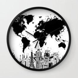world map city skyline 4 Wall Clock