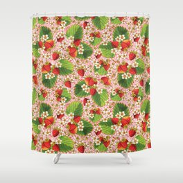 Pink Paisley Strawberries Shower Curtain