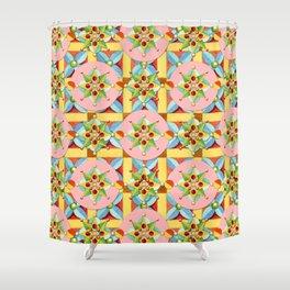Heraldic Pink Polka Dots Shower Curtain