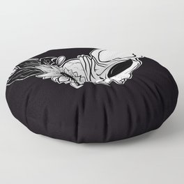 Sunflower Sphynx Skull - Hairless Cat - Creepy Kitten Floor Pillow