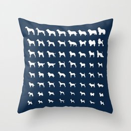 All Dogs (Navy) Throw Pillow