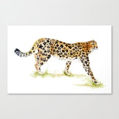 Flower Pattern Cheetah Canvas Print