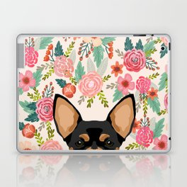 Chihuahua dog floral pet pure breed gifts for chihuahua black and tan Laptop & iPad Skin