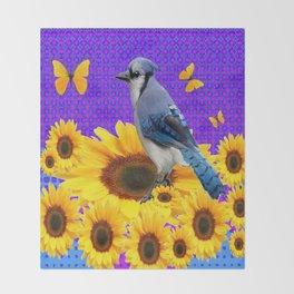 BLUE JAY YELLOW BUTTERFLIES SUNFLOWER ART Throw Blanket