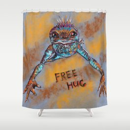 Frog offers free hugs. Drawing by pastels. Shower Curtain