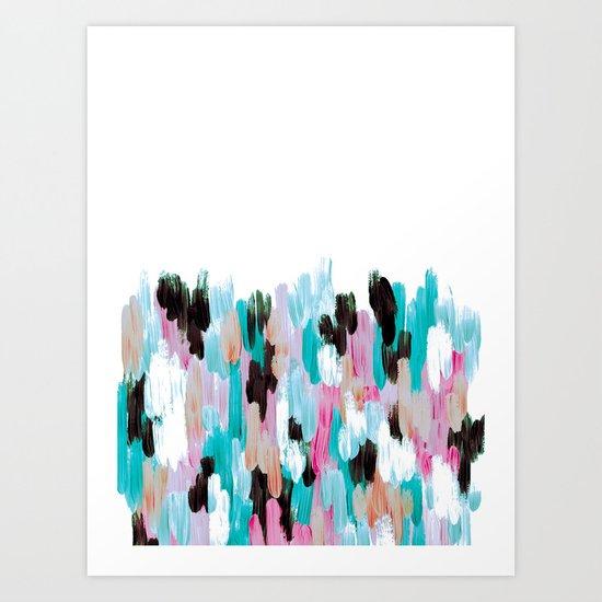 Turqoise Abstract Brushstrokes  Art Print
