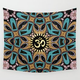 Om Shanti Teal+Gold Wall Tapestry
