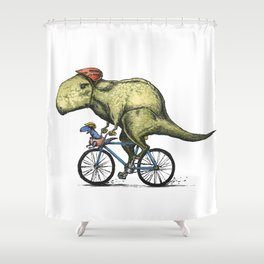 Dino Cycler Shower Curtain