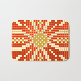 Red & Gold Flower Bath Mat