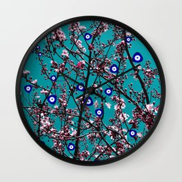 Cherry Blossoms Evil Eyes Wall Clock