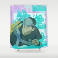 scuba Shower Curtains featuring Scuba Steve by Even In Death