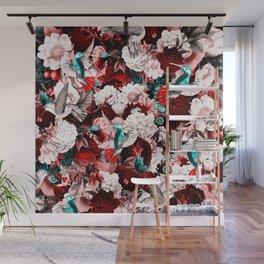 hummingbird paradise ethereal autumn flower pattern 2s Wall Mural