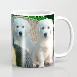White Golden Retriever Dogs Sitting in Fiber Chair Coffee Mug
