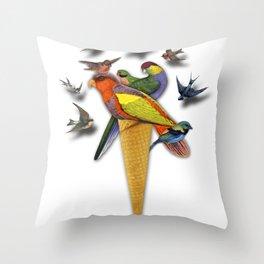 BIRDS ICE CREAM Throw Pillow