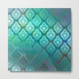 """""""Turquoise Ocean Damask Pattern"""" Metal Print"""