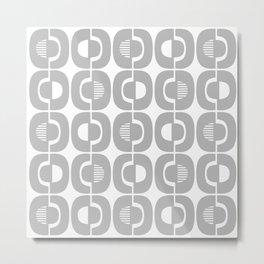 Retro Mid Century Modern Pattern 339 Gray Metal Print