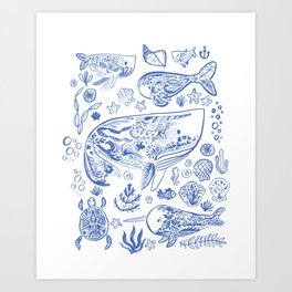 Cetacea in Blue and White Art Print