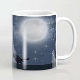 der einsame Rabe in der Nacht Coffee Mug