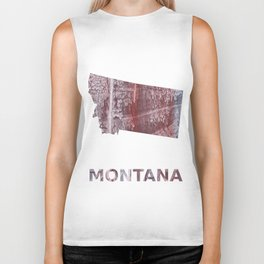 Montana map outline Gray red clouded aquarelle illustration Biker Tank