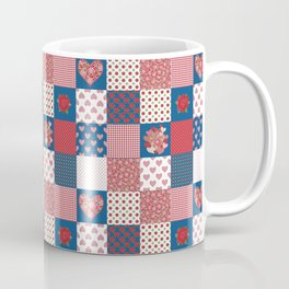 Hearts and Roses Faux Patchwork Coffee Mug