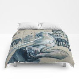 In the city // nude cityscape Comforters