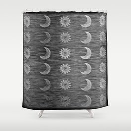 Etched Scratch Black and White Sun Moon Rows Shower Curtain