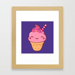 Cute Kawaii Ice Cream Cone Framed Art Print