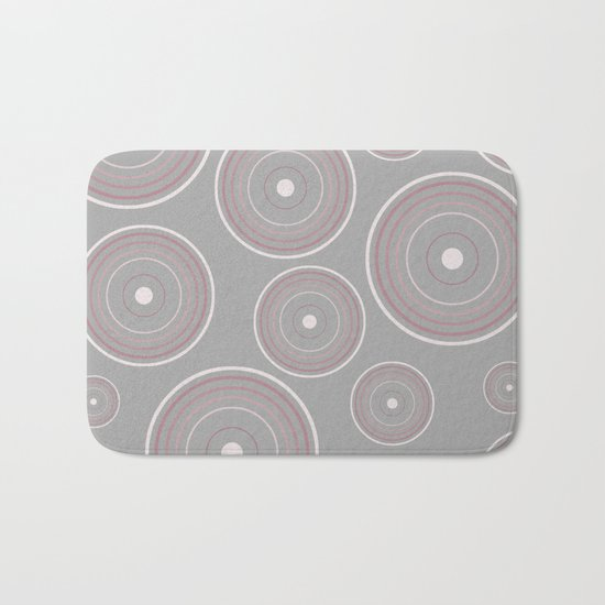 CONCENTRIC CIRCLES IN GREY (abstract pattern) Bath Mat