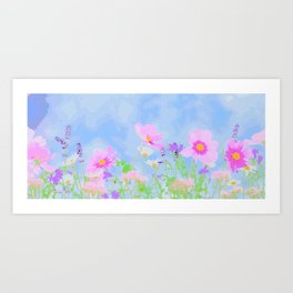 Abstrct wild flowers Art Print