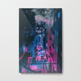 Pink face in the city Metal Print