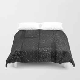 white speckled contrasted bricks - black and white Duvet Cover