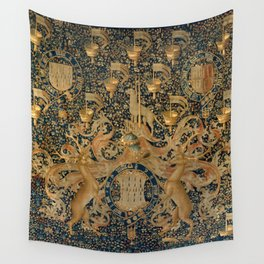 Vintage Golden Deer and Royal Crest Design (1501) Wall Tapestry