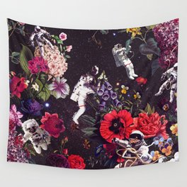 Flowers and Astronauts Wall Tapestry