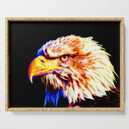 bald eagle 03 neon lines crystal Serving Tray