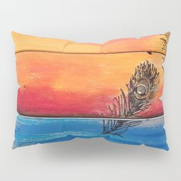 Rising Sun. My Orginal Abstract Painting by Jodilynpaintings. Abstract Sunset With Feathers. Beach Pillow Sham