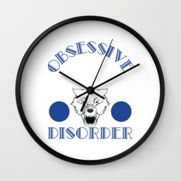 A cool white wolf gift for someone obsessed with awesome white wolves.  Obsessive Wolf Disorder Wall Clock