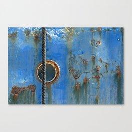 Blue Rusty, Grungy Ship Detail Canvas Print
